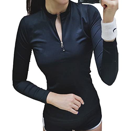 (ラウンドアース レディース) Round Earth Ladies ラッシュガード 長袖 ボクサー パンツ セット ジッパー で 着脱 楽チン & 着心地 ◎ スタイルアップ に 効果抜群 M ブラック