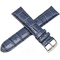 """Lucien Piccard 22MM Alligator Grain Genuine Leather Watch Strap Band 8"""" Blue with Silver LP Buckle"""