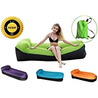 Inflatable Lounger、santormasポータブル空気ハンモックwith旅行バッグ、防水& leak-proof Air Lounger、Best Inflatable Chair Forキャンプ、ビーチ、公園、裏庭、音楽祭 グリーン