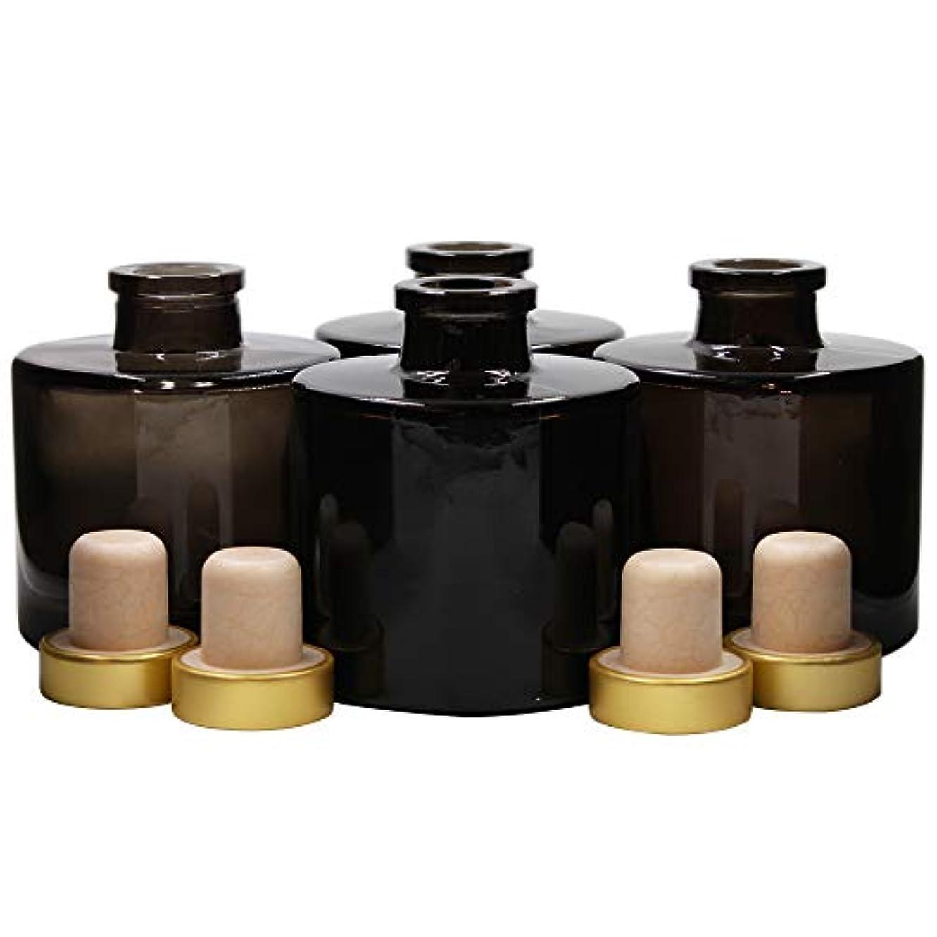 風合併症きらきらFeel Fragrance リードディフューザー用 リードディフューザーボトル 容器 黒色 蓋付き 4本セット (100ML円形)