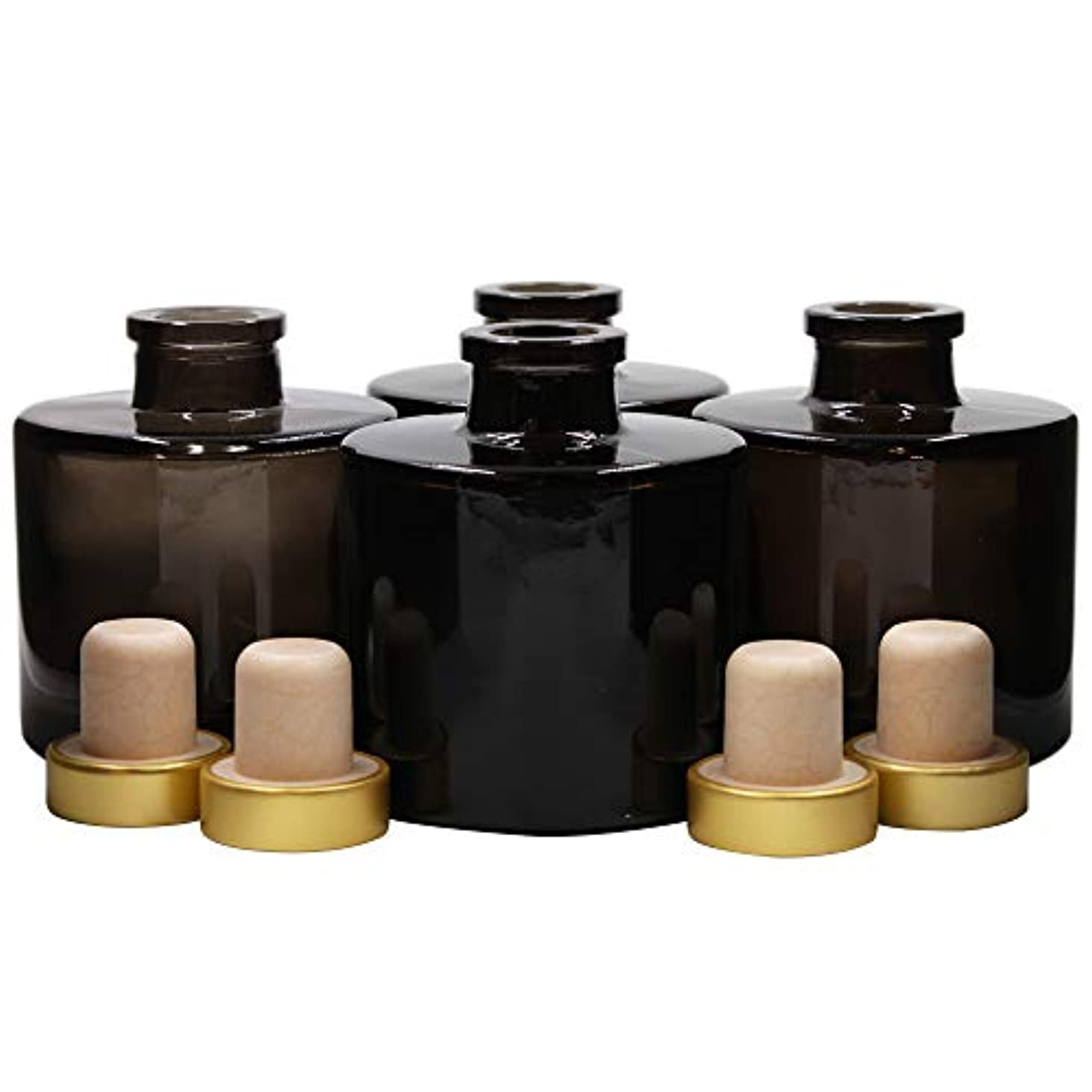 ホップ競争うまれたFeel Fragrance リードディフューザー用 リードディフューザーボトル 容器 黒色 蓋付き 4本セット (100ML円形)