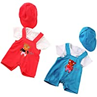 Dovewill 衣装セット 18インチドール人形のため 肩ストラップ ズボン Tシャツ 帽子セット