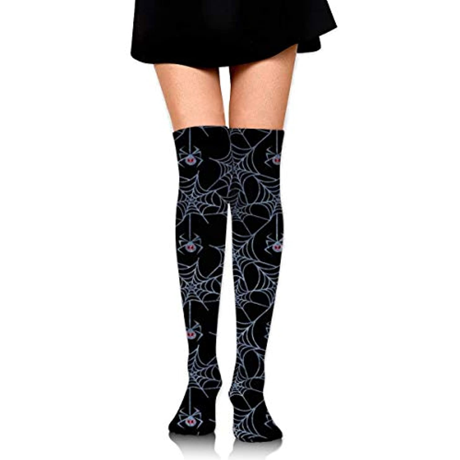 決定的想起協力するMKLOS 通気性 圧縮ソックス Breathable Extra Long Cotton Mid Thigh High Halloween Spider Web Black Exotic Psychedelic Print...