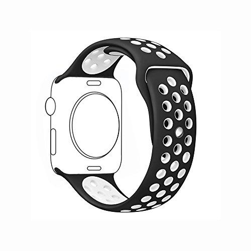 METEQI For Apple Watch Band シリカゲルバンド スポーツシリコンストラップリストバンド交換バンド柔らか運動型 M/L Series3/2/1 (38MM, 黒/白)