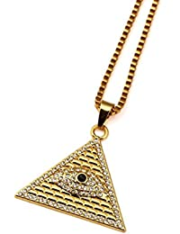 Nyukホルスの目ピラミッドメンズヒップホップ18 Kチェーンネックレス
