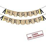 The Legend Has Retired バナー 黄麻布 - ヴィンテージ退職バナー バンティング - 退職 パーティー デコレーション サプライ 男性または女性へのギフト