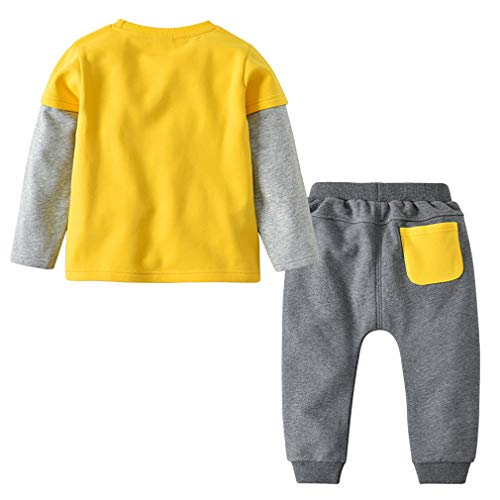 Danna Belle Baby Boys Toddler Kids 2 Pieces Winter Fall Summer Clothing Set T-Shirt Pants Outfits(Yellow,5T)