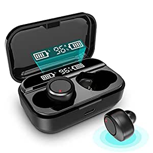 【2020最新版 Bluetooth イヤホン ワイヤレス イヤホン】 LEDディスプレイ Hi-Fi 高音質 最新Bluetooth5.0+EDR搭載 3Dステレオサウンド 完全ワイヤレス イヤホン 自動ペアリング ブルートゥース イヤホン AAC対応 Siri対応 音量調整可能 iPhone/ipad/Android適用 (ブラック)