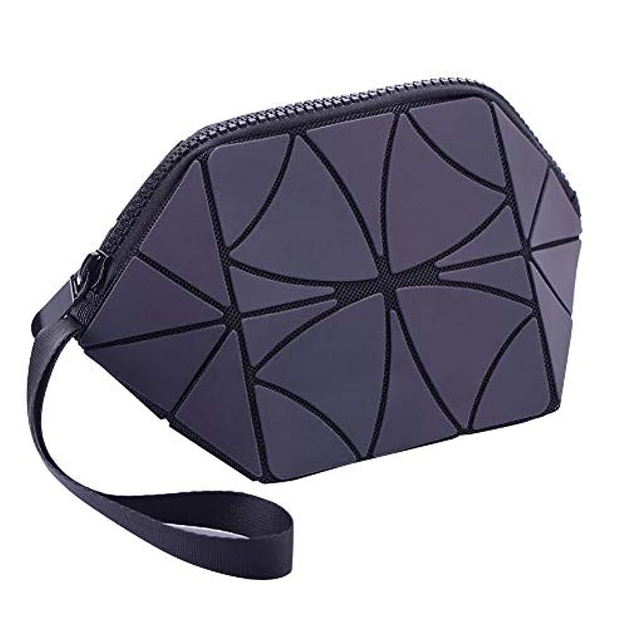 節約する二層ストリップ化粧品袋光沢のある幾何学的な縞模様の化粧品やトイレタリーバッグ折りたたみ式ポータブルトラベルメイクトレインオーガナイザーバッグ