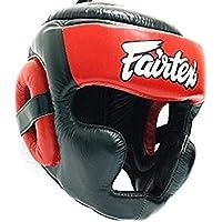 MMABLAST FAIRTEX 対角視界スパーリングヘッドギア パッド付きトップバージョン HG13F ブラック/レッド