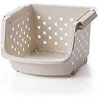 YI LU Deng JU- キッチン収納バスケット、家庭用小型バスケット、プラスチック製食品バスケット、フルーツスナック野菜収納バスケット、収納ラック (色 : ベージュ, サイズ さいず : 33.5 * 36 * 25cm)