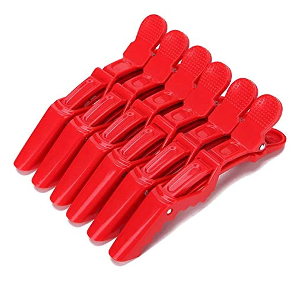 大惨事バラバラにする有名サロン専用 髪量多い対応 スタイリング ワニクリップ 6本セット レッド