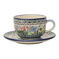 Ceramika Artystyczna(セラミカ) フラワーガーデン カップ&ソーサー(0.2L) (包装済み/ブルーブラウン)(W165)