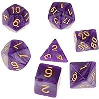 【ノーブランド 品】マルチ面 ダイス TRPGゲーム ダンジョン&ドラゴン D4-D20 小道具 7PCS  全6色 - パープル