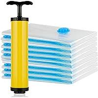 圧縮袋GQC®布団収納袋 布団圧縮袋 衣類真空圧縮袋 (8枚 +無料でハンドポンプ付き 生涯交換)使用後に80%のスペースを節約します シーリング後に、埃/湿気/昆虫/カビを防ぐことができます。再利用可能な収納/家庭用/引越し/出張/旅行にも使用できます。S (70 * 50cm*4) M (80 * 60cm *2) L (100 * 70cm*2)