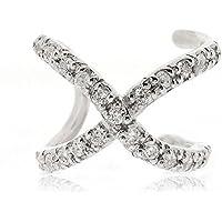 Sovats Ear Cuff CZ X Cross Earrings For Women Set With White Cubic Zirconia 925 Sterling Silver Rhodium Plated - Simple, Stylish Stud Earrings&Trendy Nickel Free Earring