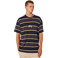 Stussy Men's Dare Stripe Mens Tee Crew Neck Cotton Blue