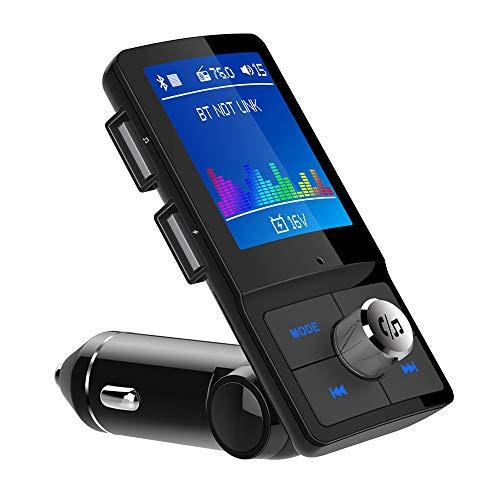 iLokey FMトランスミッター 車載用FMトランスミッター シガーソケットチャージャー Bluetooth 4.2 高音質 1.77インチ LCDディスプレイ ハンズフリー通話 2つUSBポートsdカード/USBメモに対応 日本語メニュー EQ設定 日本周波数76.0~90.0Mhz 12V/24V車対応 18ヶ月間メーカー保証 日本語説明書付属 特許取得工場&ISO9001取得工場製造品 2019年最新版 父の日 ギフト