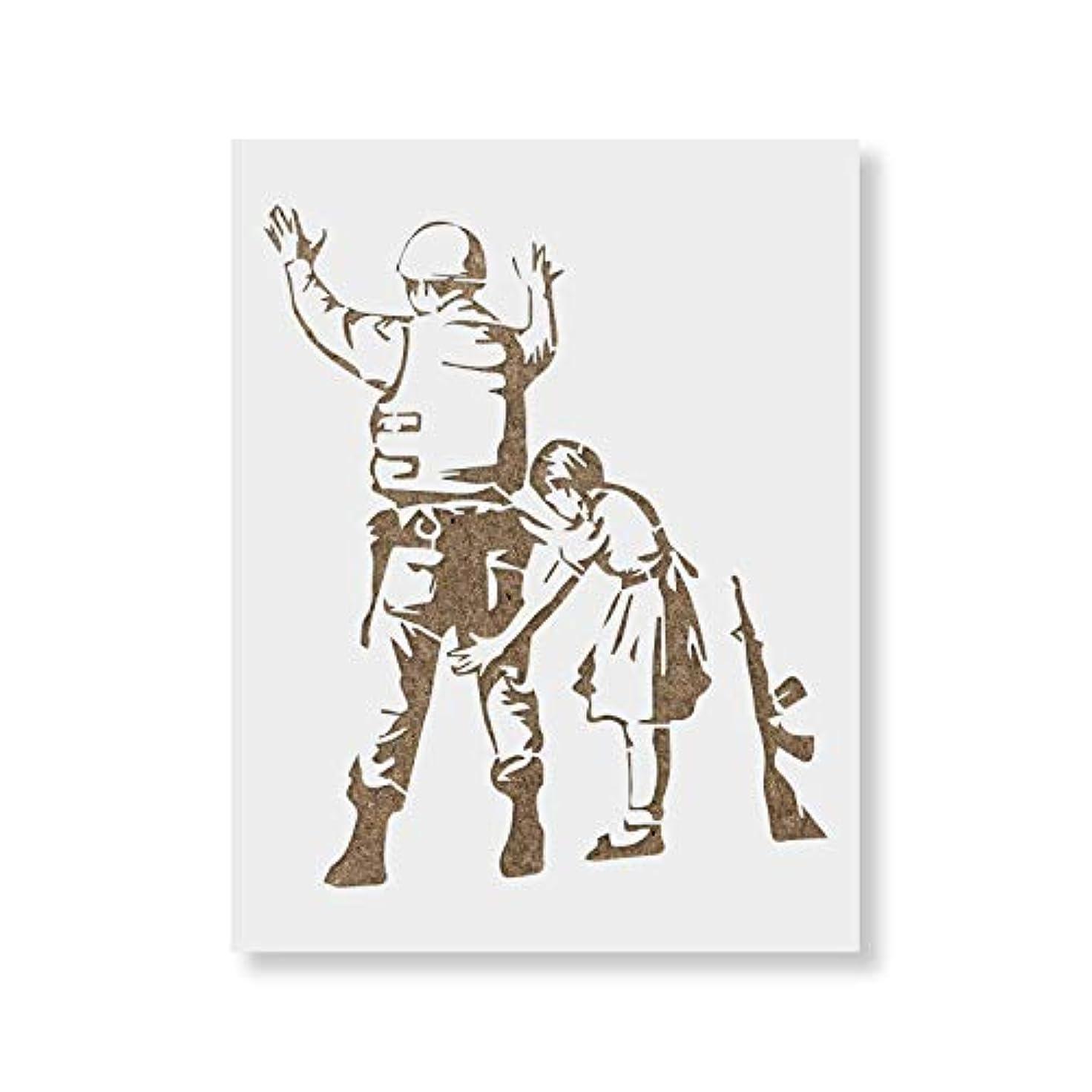 媒染剤前任者アンティーク女の子と兵士バンクシー壁と工芸 – 再利用可能なステンシルforバンクシーアートステンシルの兵士の少女 – Made in USA 36