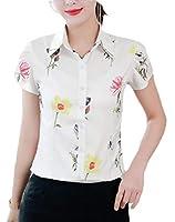 maweisong 女性のボタンブラウスVネックプリント仕事カジュアルロング/半袖シャツトップ 7 XS