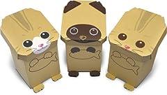 段ボール簡単工作シリーズ 動物型おもちゃボックス はこねこ  3匹セット