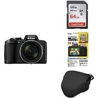 Nikon デジタルカメラ COOLPIX B600 光学60倍 軽量 クールピクス ブラック + アクセサリー3点セット(SDカード 64GB、液晶保護フィルム、一眼カメラケース)