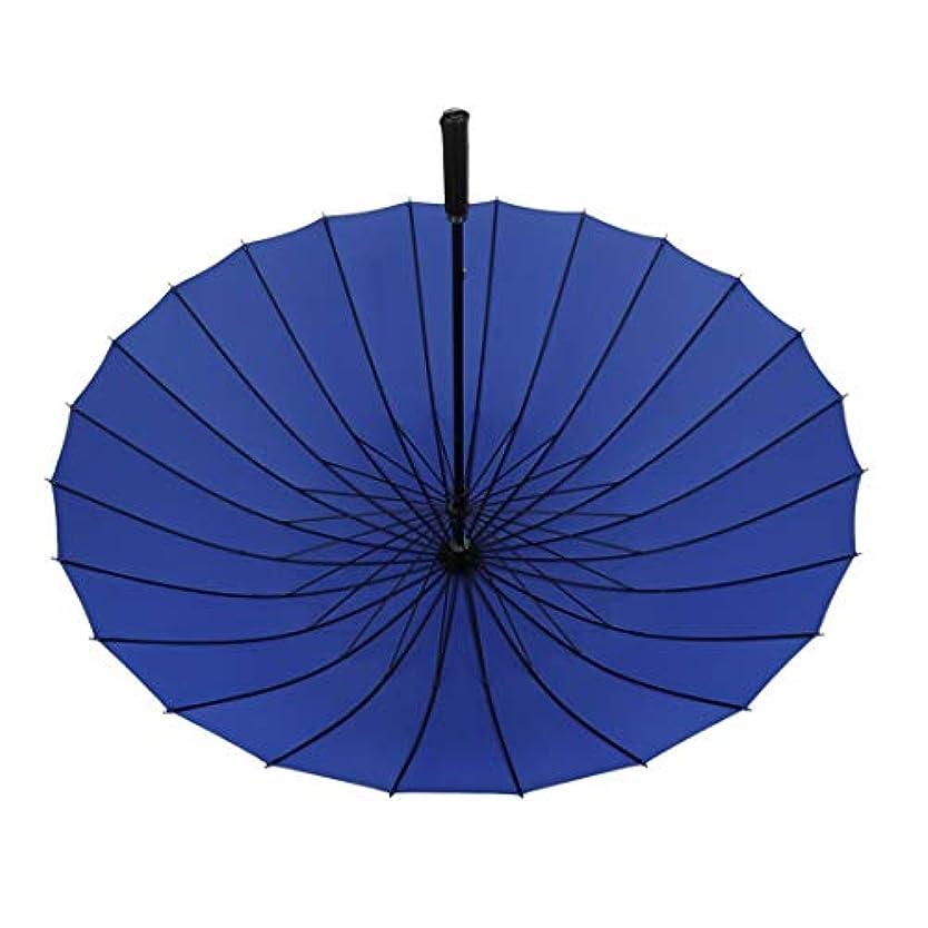 菊ビバ貫通Summerys 24骨ストラップタイプ便利なストレート傘傘 (Color : Blue)