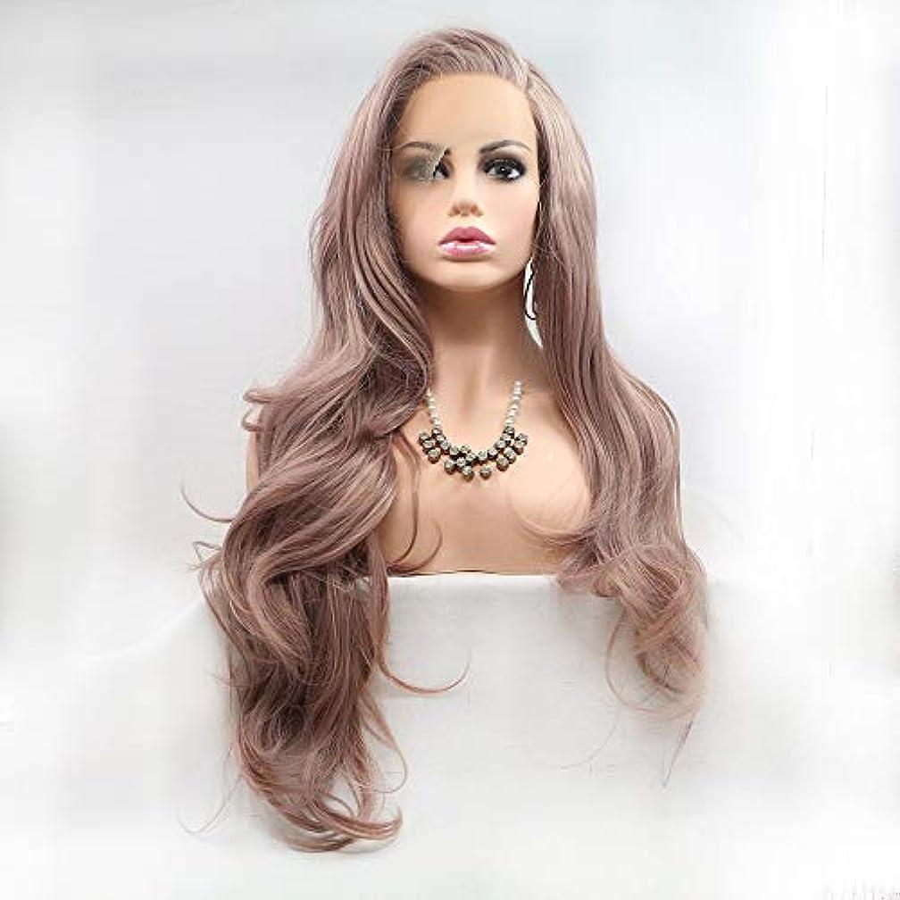 夜明け分析的複雑でないヘアピース 茶色の長い髪の巻き毛の女性手作りレースヨーロッパとアメリカの自然な髪のかつらセット