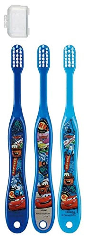硬化する経験的間欠子供歯ブラシ 園児用 キャップ付き 3本セット カーズ トイストーリー プラレール ディズニー ピクサー fo-shb02(カーズ)