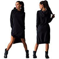 Lookatool Women Sweatshirt Dress Double Split Hoodie Pullover Pockets Sweater