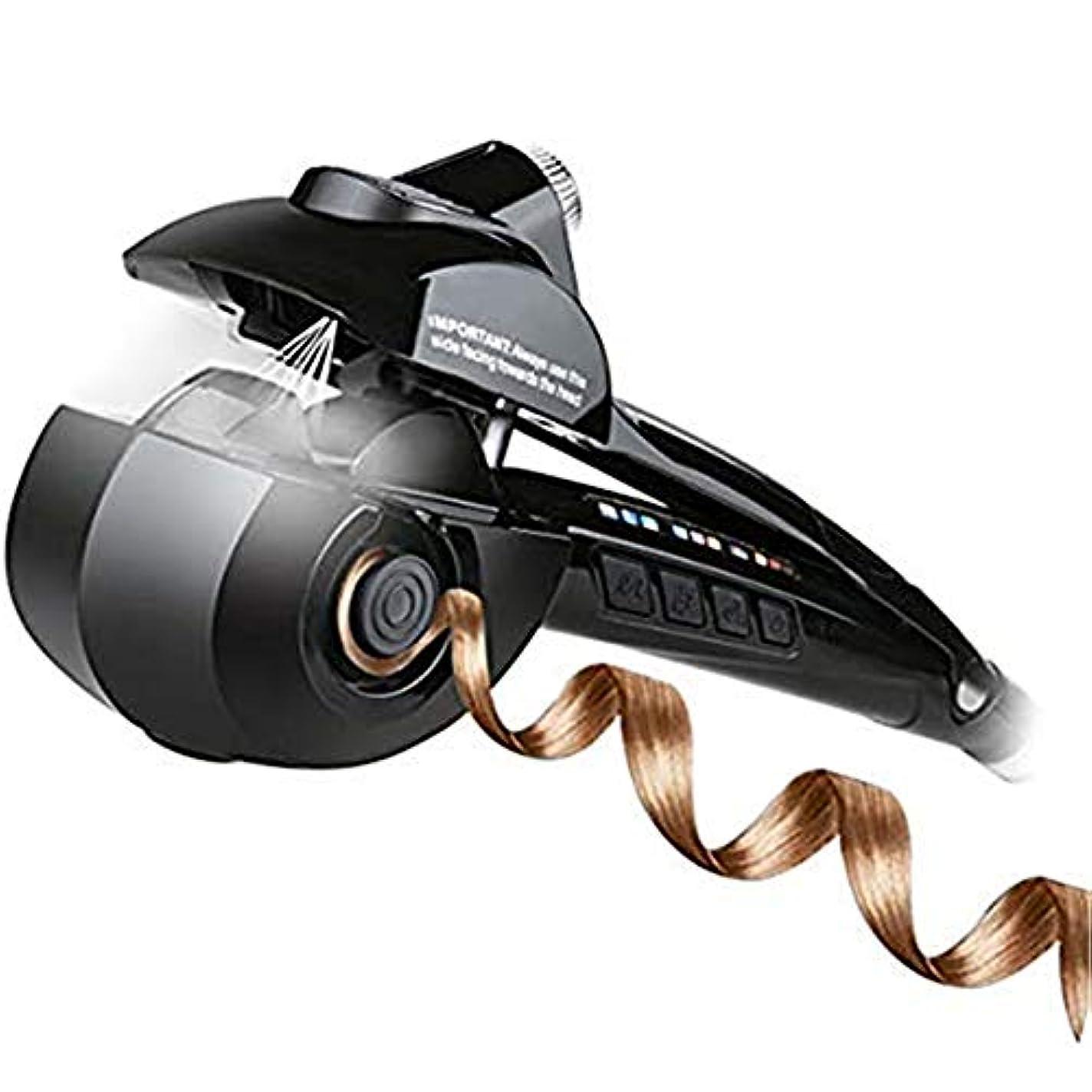 気まぐれな浸す再撮り自動ヘアカーラーセラミックカーリングアイロンプロフェッショナル回転波状ヘアカーラー用ウェットとドライヘア用LEDデジタルディスプレイ