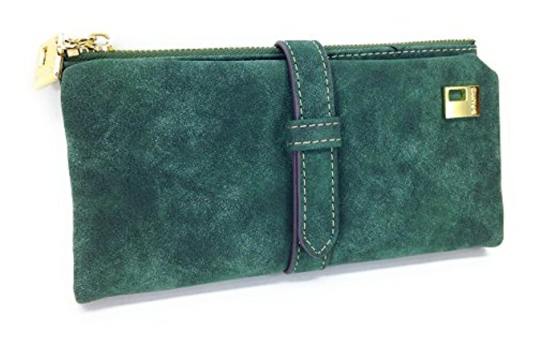 【ノーブランド品】 アンティーク レザー風 ベルトが おしゃれな 長財布
