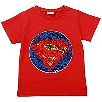 Superman Flip Sequin Magic T-Shirt Cotton Short Sleeve Tees Tops Boys Kids (Size 3-8)