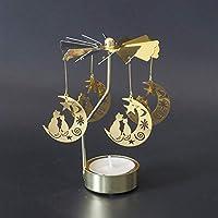 猫の形ロマンチックな回転燭台旋盤ドア風車キャンドルホルダーDIYテーブルデスクインテリアホリデークリスマスギフト YAHALOU