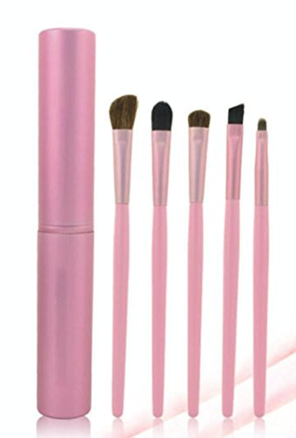 不従順イタリック鷲NN.HRD メイクブラシ セット 柔らか やさしい肌触り おしゃれな チューブ ケース makeup brush set (ピンク 5set)