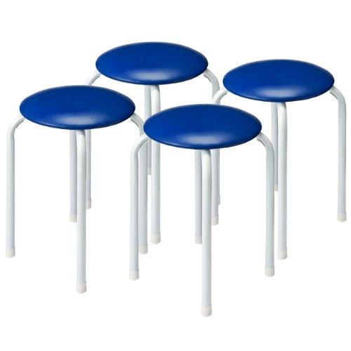 サンワダイレクト 丸イス 4脚セット 積み重ね可能 パイプ丸イス 丸椅子 ブルー 150-SNC061BL4