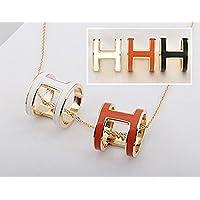 shop 5ld H型 エナメル スカーフ リング ペンダント チャーム (small ホワイト)
