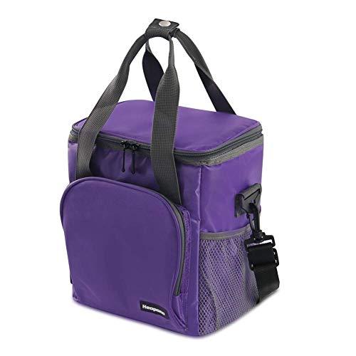 クーラーバッグ 小型 ランチバッグ 保冷保温バッグ 弁当箱 お弁当用バッグ 釣り用 クーラーボックス アウトドア ピクニック キャンプ 運動会 BBQ 約8L 紫