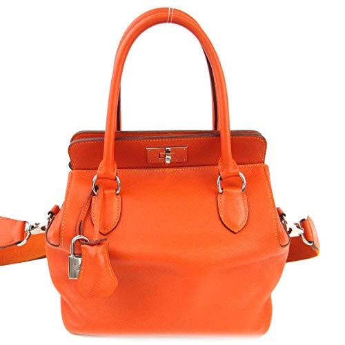 [エルメス] HERMES ツールボックス20 ハンドバッグ 2wayショルダーバッグ オレンジ (金具:シルバー) ヴォースイフト [中古]