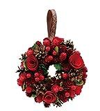 丸和貿易  クリスマス リース ベリーローズ  (S)  壁掛け  玄関飾り    4008734-01
