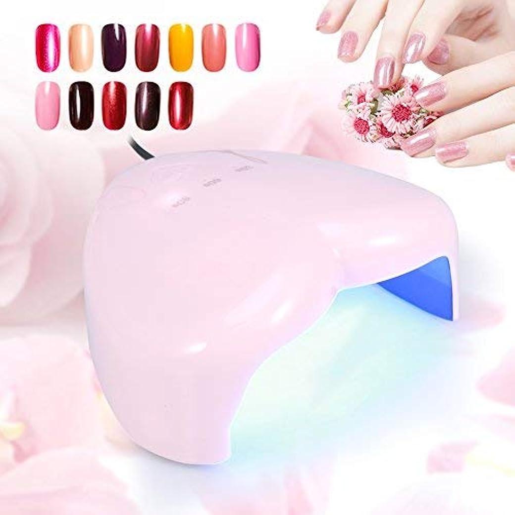 小康ストローク誰も18W ハート型 UV LEDランプ ネイルドライヤー ネイルポーランドアートツール ネイル用硬化ランプ(ピンク)