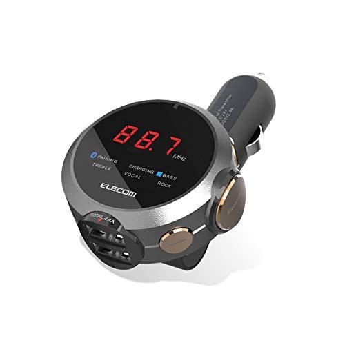 エレコム FM トランスミッター 高音質 重低音モード イコライザー付 Bluetooth USB×2ポート 2.4A おまかせ充電 1年間保証 ブラック LAT-FMBTB05BK