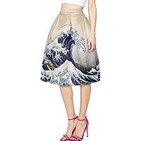 Leezeshaw Womens Elastic Waistband Digital Print Flared Pleated A-line Skirt