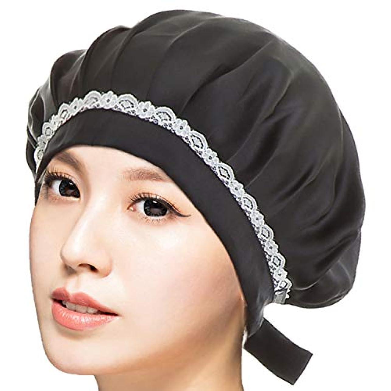 RUPORX シルク ナイトキャップ 天然シルク100% ロングヘア 通気性抜群 高品質 ヘアキャップ (ブラック)