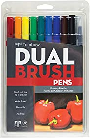 Tombow Dual Brush Pen Art Markers, Primary Palette, 10ct