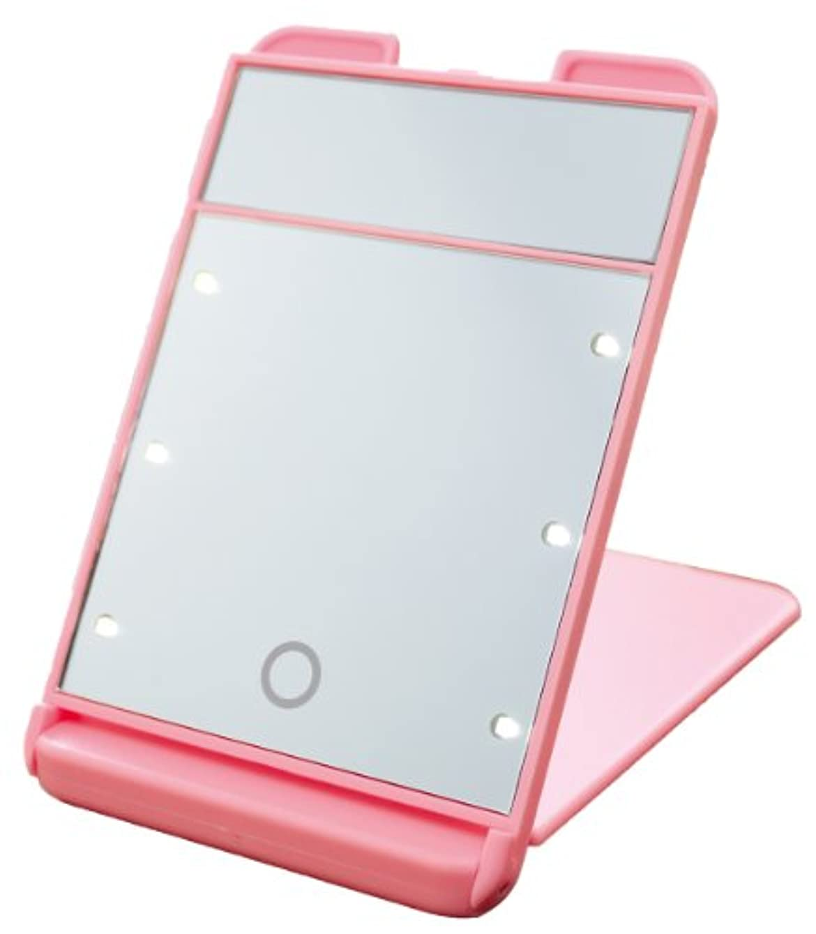 符号モッキンバード好き3倍拡大鏡付 LED コンパクト ブライトニングミラー タッチミニ YLD-1600 ピンク