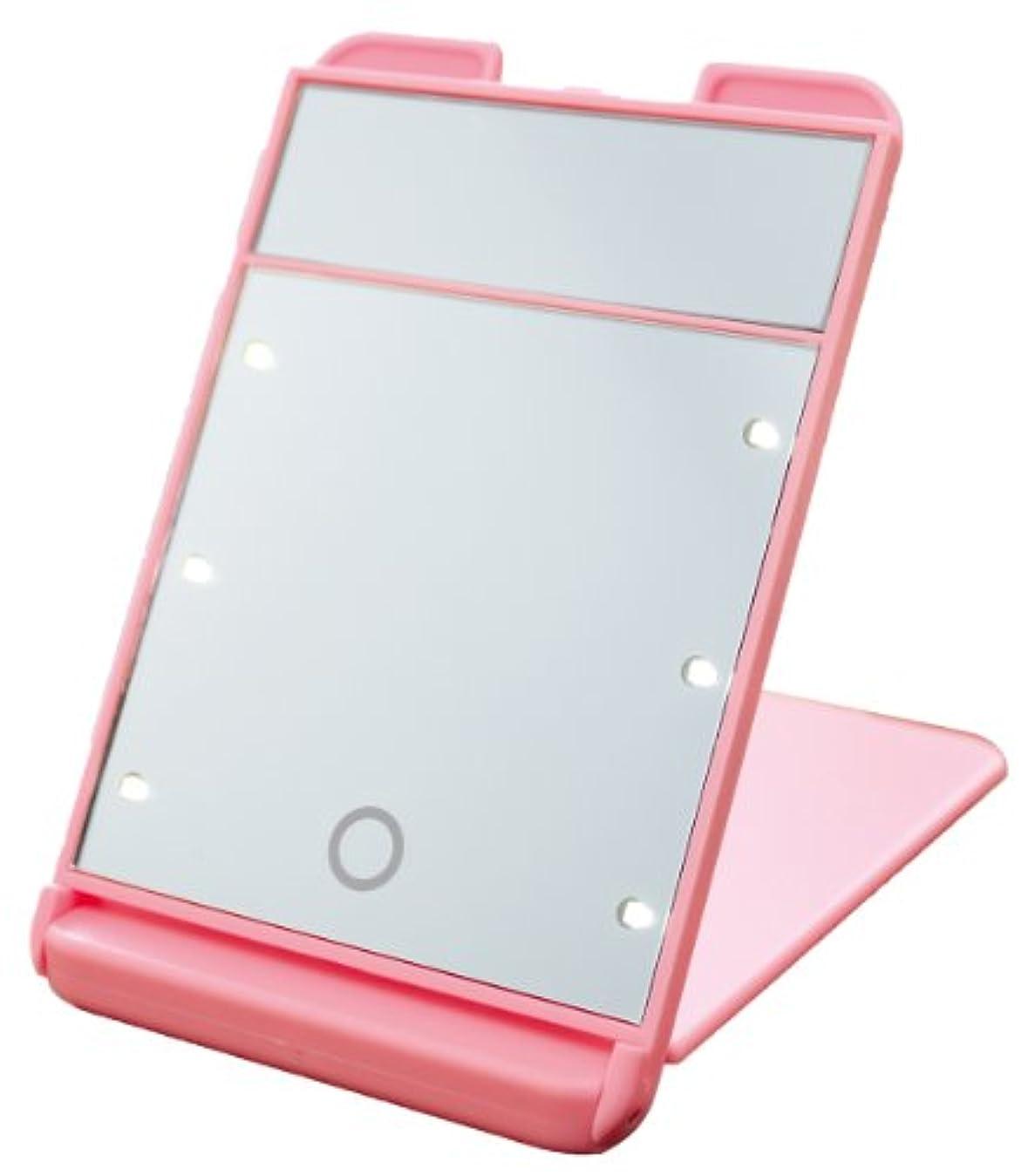 3倍拡大鏡付 LED コンパクト ブライトニングミラー タッチミニ YLD-1600 ピンク