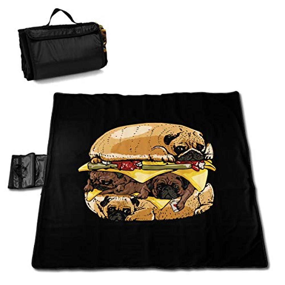 排除する抜け目のないホームレスQQ LOVE ハンバーガー パグ レジャーシート ピクニックシート 厚手 レジャーマット 折り畳み 150*145 Cm