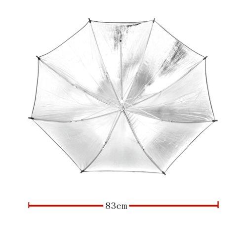 TOMTOP 33in/83cm撮影用カメラフォトスタジオ反射傘リフレクター拡散板傘アンブレラ  スピードライト用 傘 アンブレラタイプ 八角形  スタジオ傘   黒とシルバー