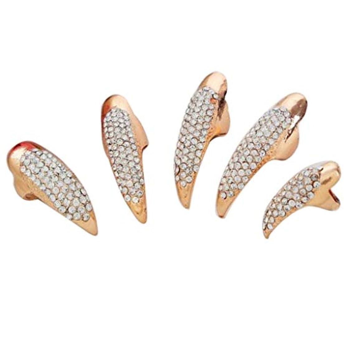 報復楽しむシェードToygogo ネイルリング チップリング 爪の指輪 指先の指輪 ネイルアート アクセサリー 2色選べ - ゴールデン